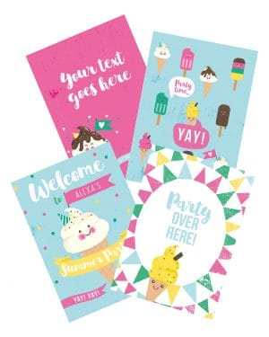 Printable Ice Cream Party Poster Pack x4 Editable Collette and Co 8