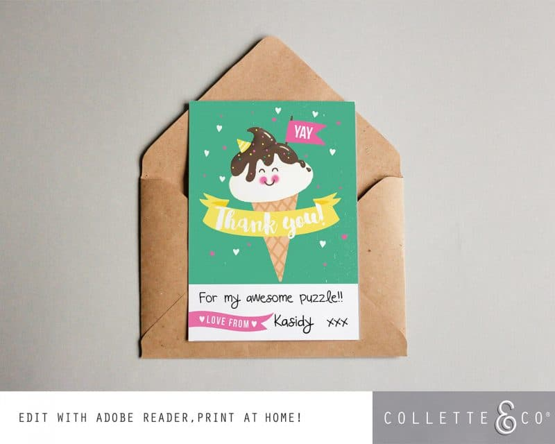 Printable Ice Cream Party Thank You Card Instant Download Collette and Co 1