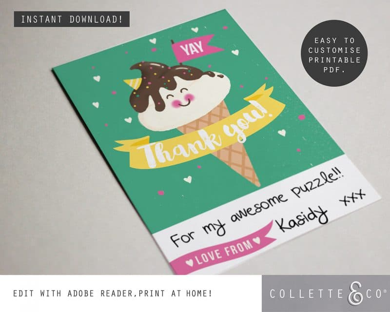 Printable Ice Cream Party Thank You Card Instant Download Collette and Co 2