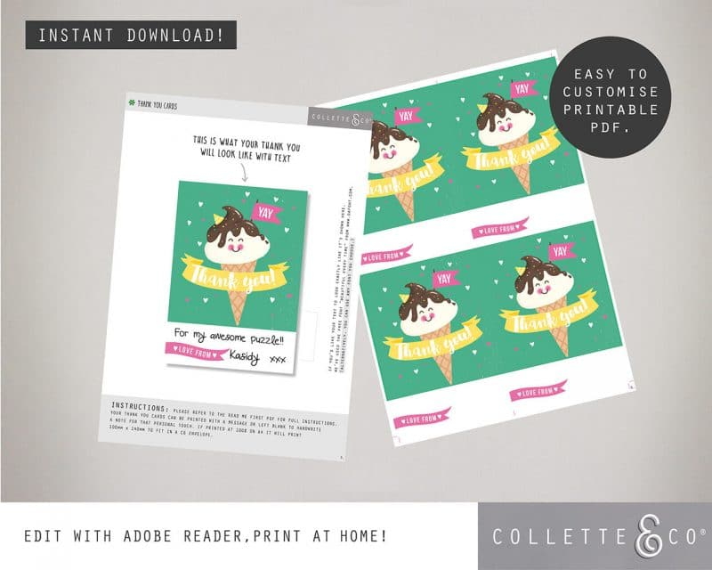 Printable Ice Cream Party Thank You Card Instant Download Collette and Co 3