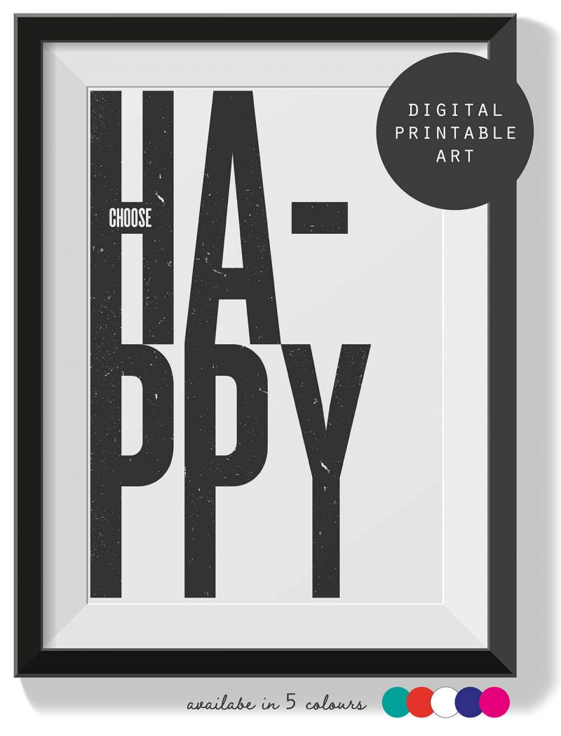 Printable Wall Art Choose Happy Collette and Co 1