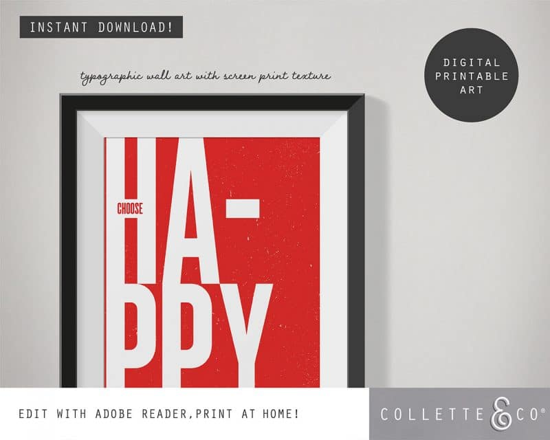 Printable Wall Art Choose Happy Red Collette and Co 2