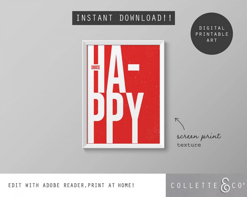 Printable Wall Art Choose Happy Red Collette and Co 5