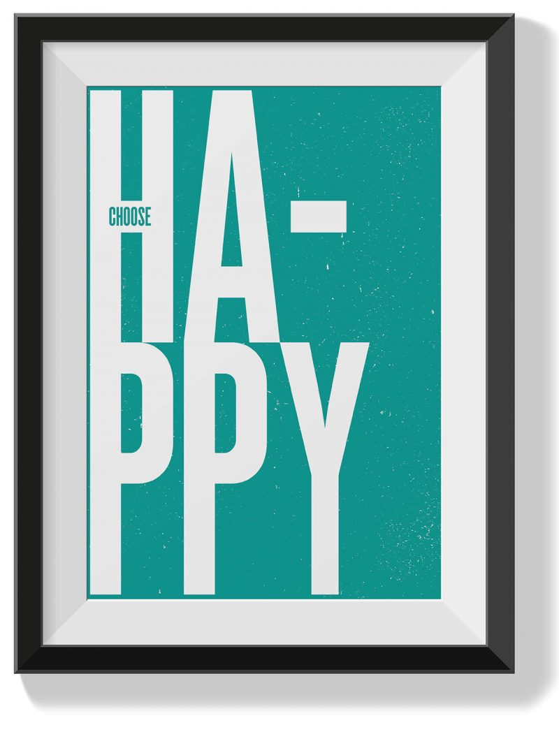Printable Wall Art Choose Happy Teal Collette and Co 1