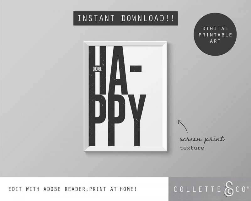 Printable Wall Art Choose Happy White Collette and Co 5