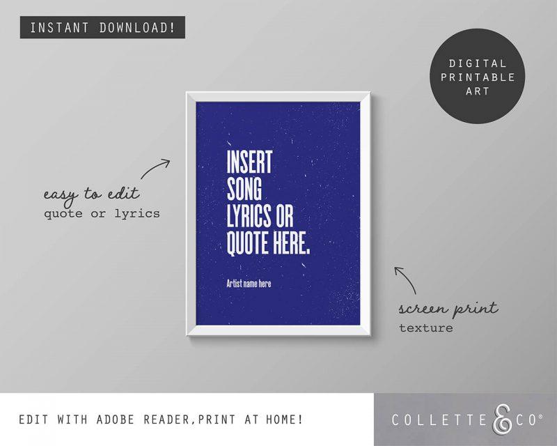 Printable Wall Art Editable Song Lyrics Blue Collette and Co 1