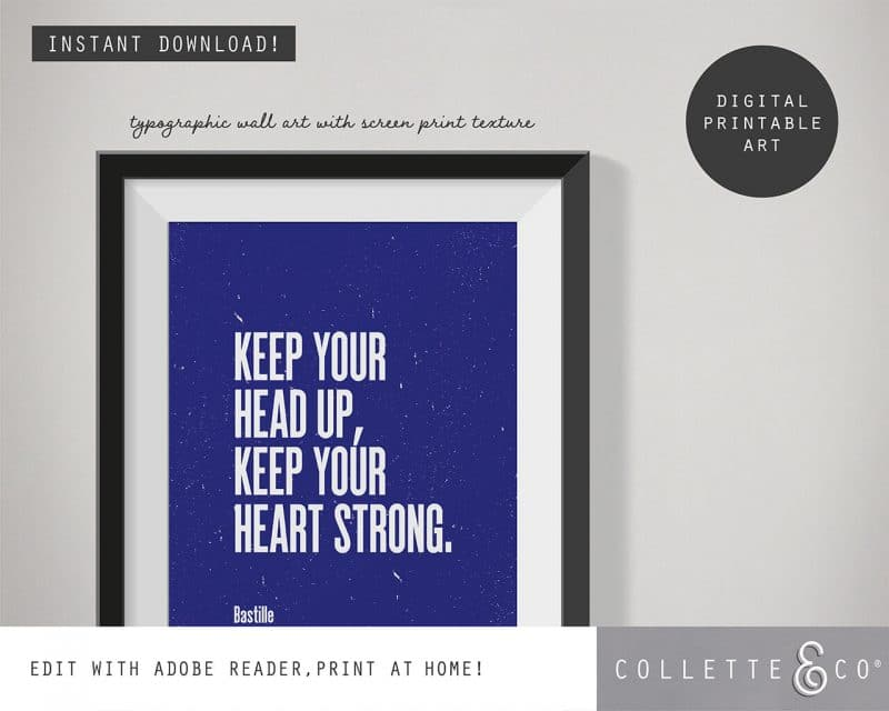 Printable Wall Art Editable Song Lyrics Blue Collette and Co 2