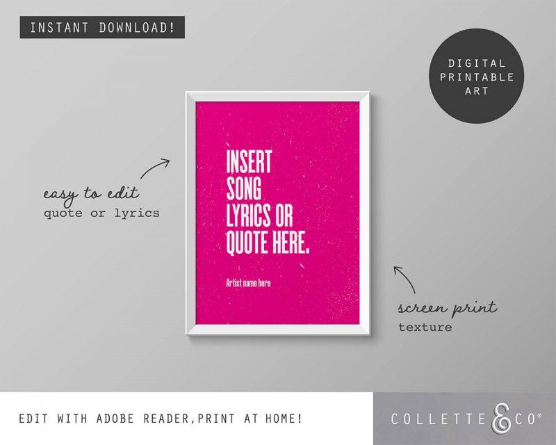 Printable Wall Art Editable Song Lyrics Pink Collette and Co 1