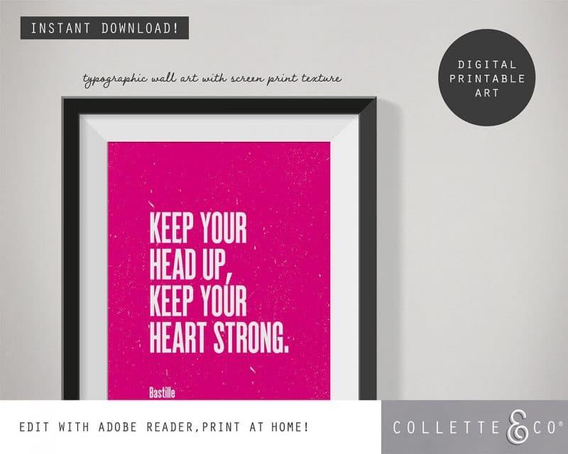 Printable Wall Art Editable Song Lyrics Pink Collette and Co 2