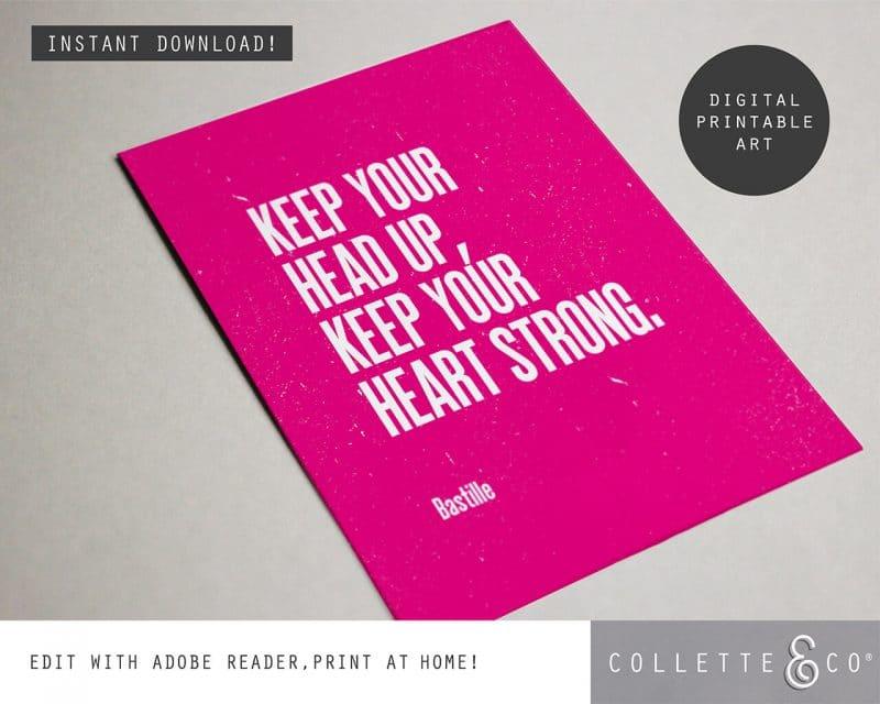 Printable Wall Art Editable Song Lyrics Pink Collette and Co 4
