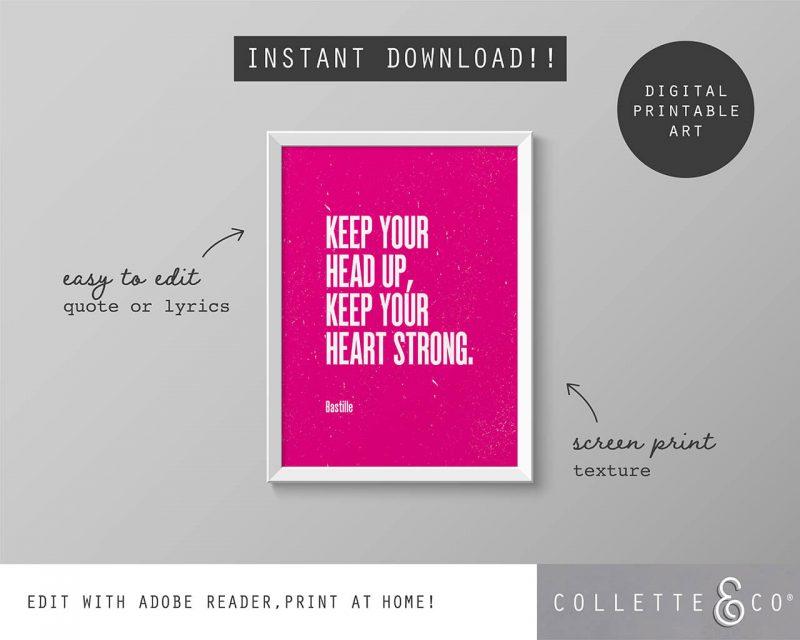 Printable Wall Art Editable Song Lyrics Pink Collette and Co 5