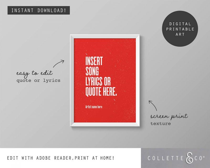 Printable Wall Art Editable Song Lyrics Red Collette and Co 1