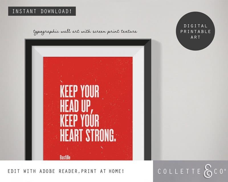 Printable Wall Art Editable Song Lyrics Red Collette and Co 2