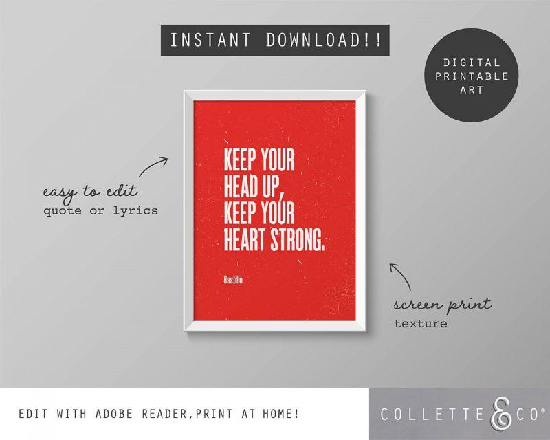 Printable Wall Art Editable Song Lyrics Red Collette and Co 5