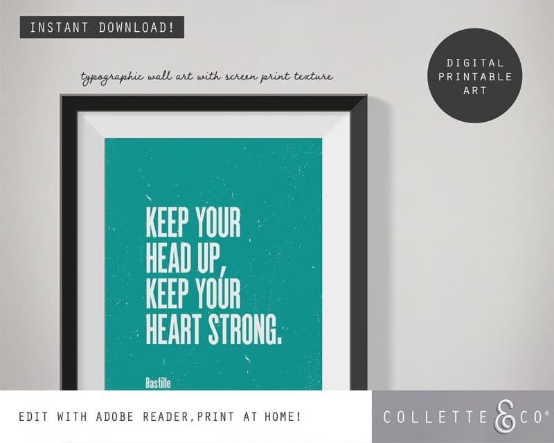 Printable Wall Art Editable Song Lyrics Teal Collette and Co 2