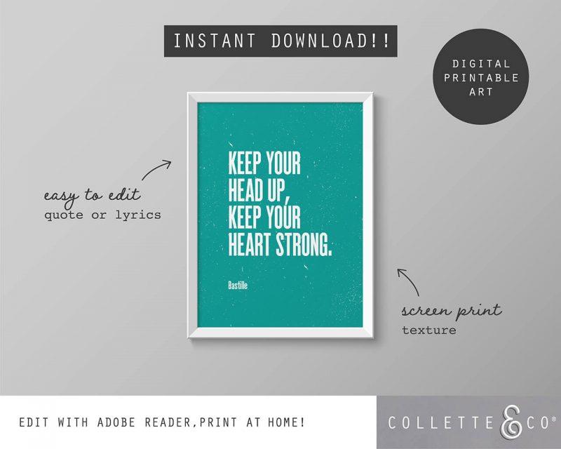 Printable Wall Art Editable Song Lyrics Teal Collette and Co 5