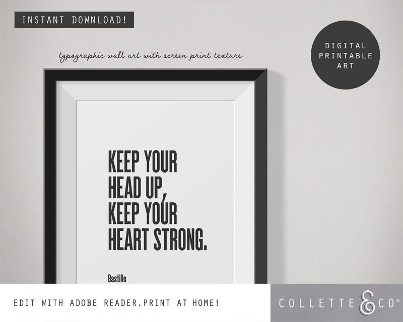 Printable Wall Art Editable Song Lyrics White Collette and Co 2
