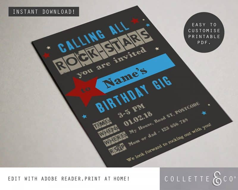 kids rockstar party printables Collette and Co 2