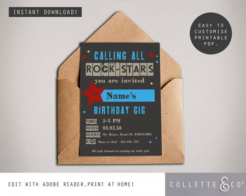 kids rockstar party printables Collette and Co 4