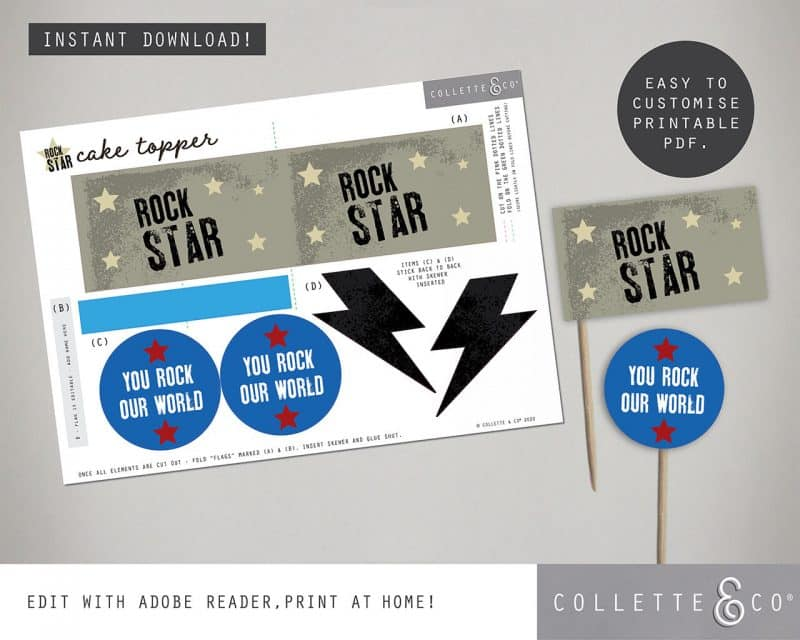kids rockstar party printables Collette and Co 5