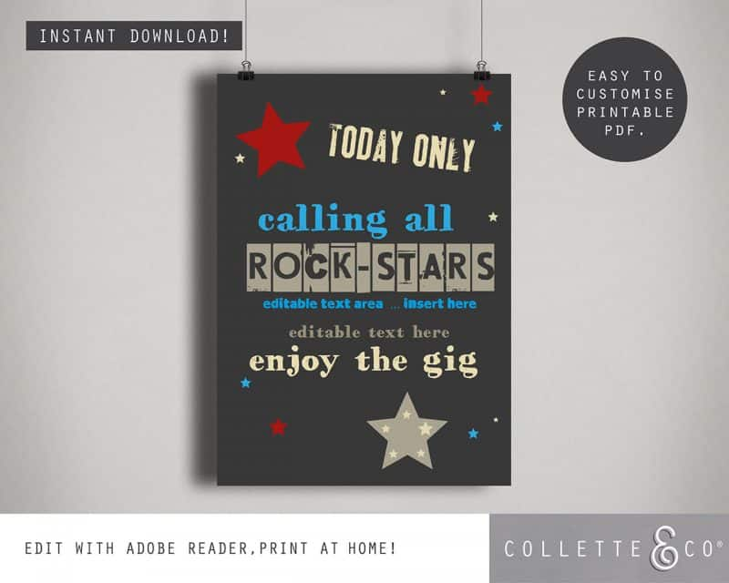 kids rockstar party printables Collette and Co 9