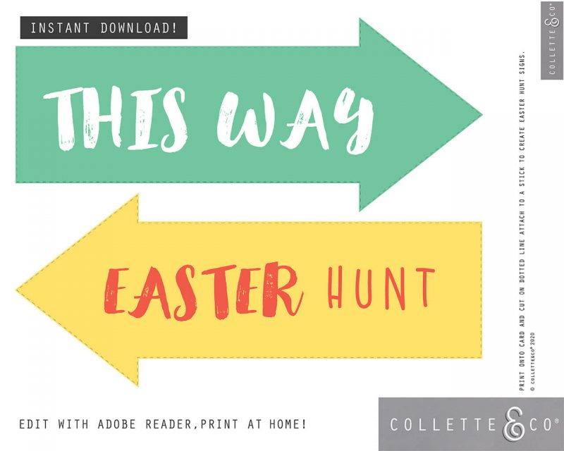 4. EASTER huntsigns ARROWS PV 8 Easter Printables Bundle Collette and Co