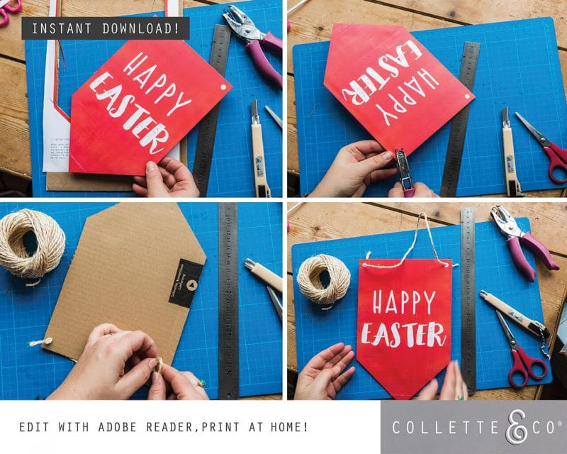 5. EASTER Banner Flag PV 5 how to2 Easter Printables Bundle Collette and Co