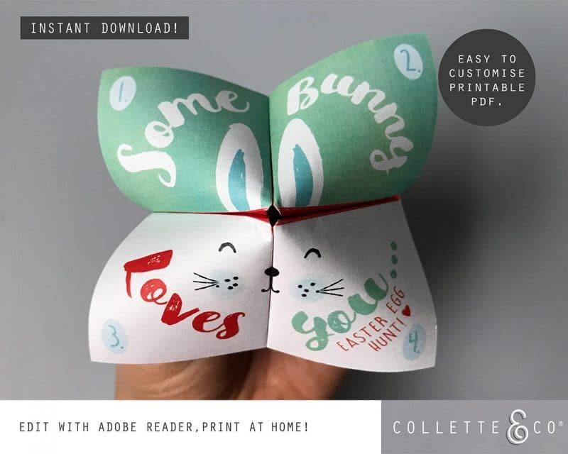 6. EASTER fortune teller somebunny PV 2 visual Easter Printables Bundle Collette and Co