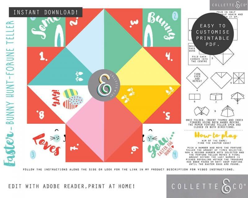 6. EASTER fortune teller somebunny PV 3 vsual Easter Printables Bundle Collette and Co