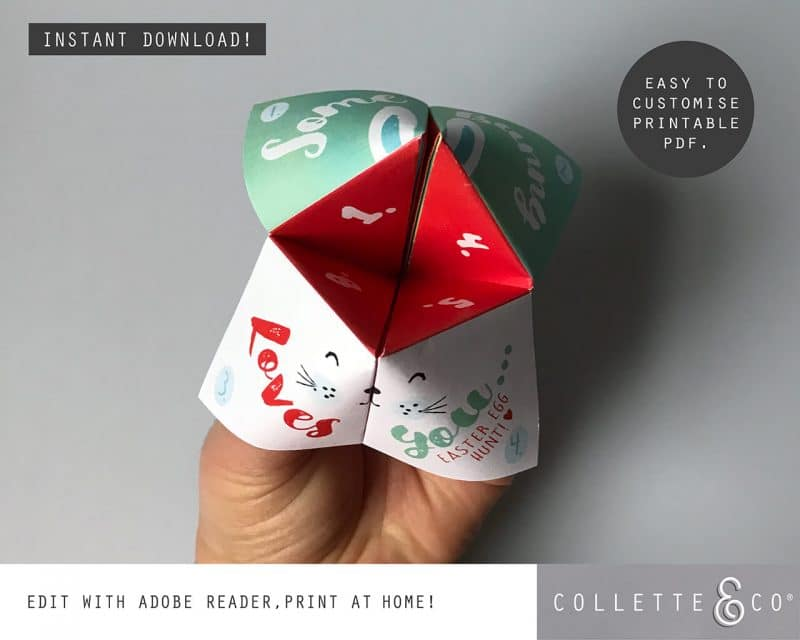 6. EASTER fortune teller somebunny PV 4 visual Easter Printables Bundle Collette and Co