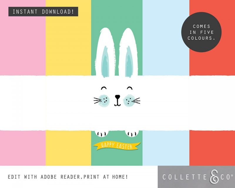 9. EASTER WRAP bunny PV 4 colours Easter Printables Bundle Collette and Co