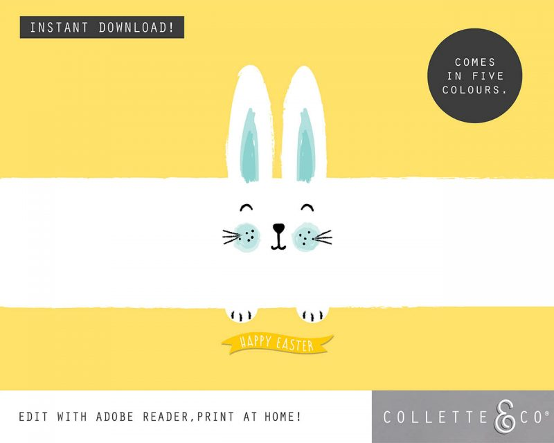 9. EASTER WRAP bunny PV 7 flat Easter Printables Bundle Collette and Co