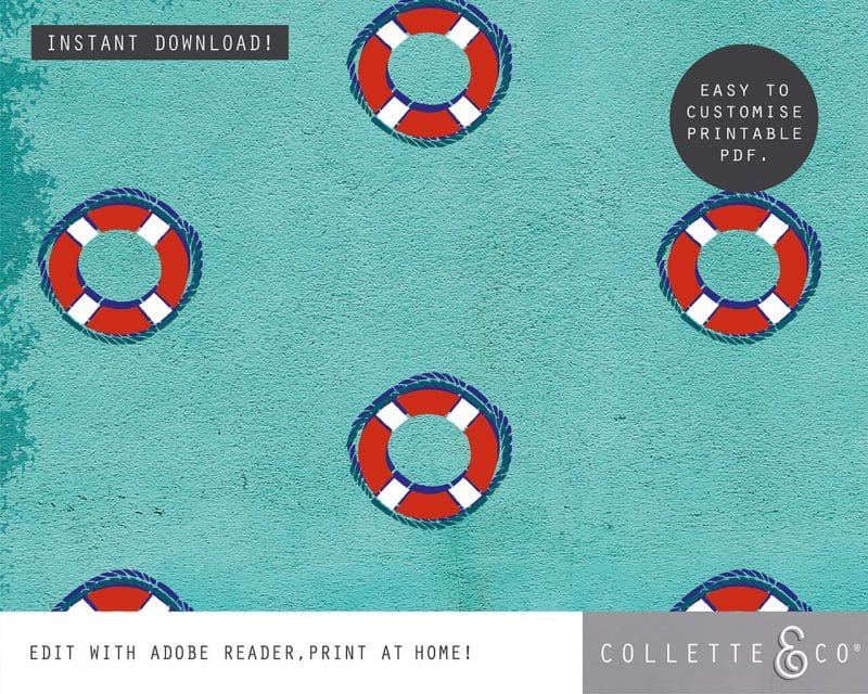 Beach Party Printables FULL Pack Editable Collette and Co 1