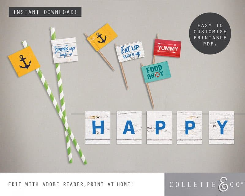 Beach Party Printables FULL Pack Editable Collette and Co 10