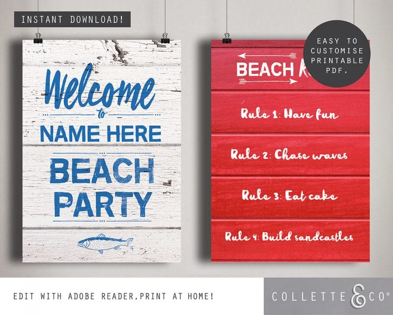 Beach Party Printables FULL Pack Editable Collette and Co 12