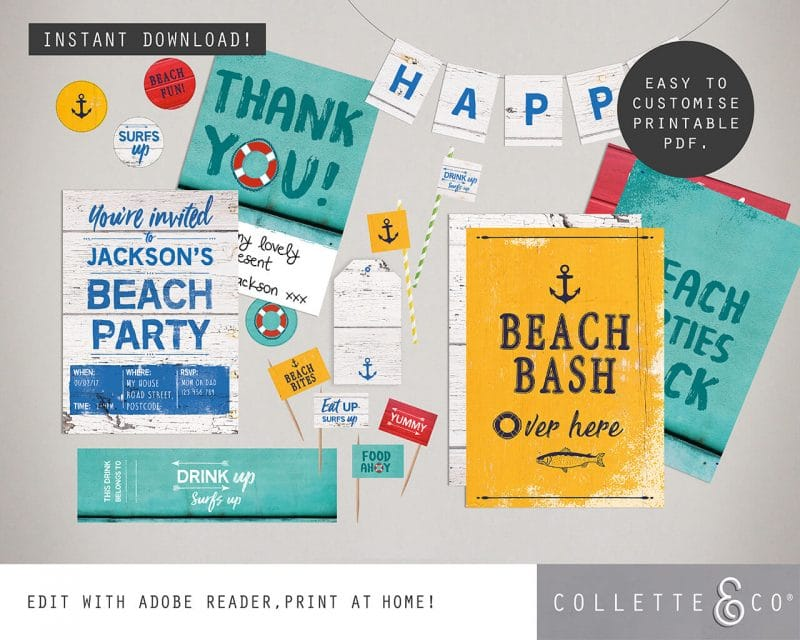 Beach Party Printables FULL Pack Editable Collette and Co 24
