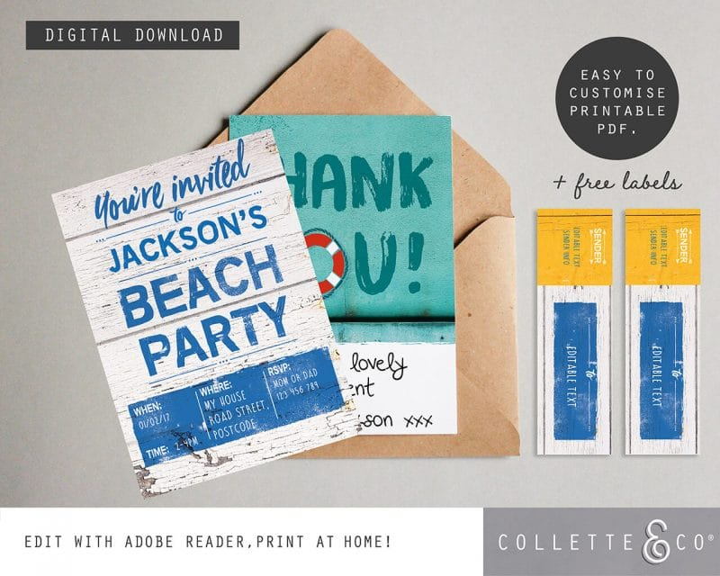 Beach Party Printables FULL Pack Editable Collette and Co 28
