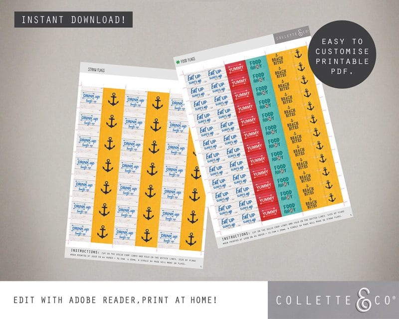 Beach Party Printables FULL Pack Editable Collette and Co 8