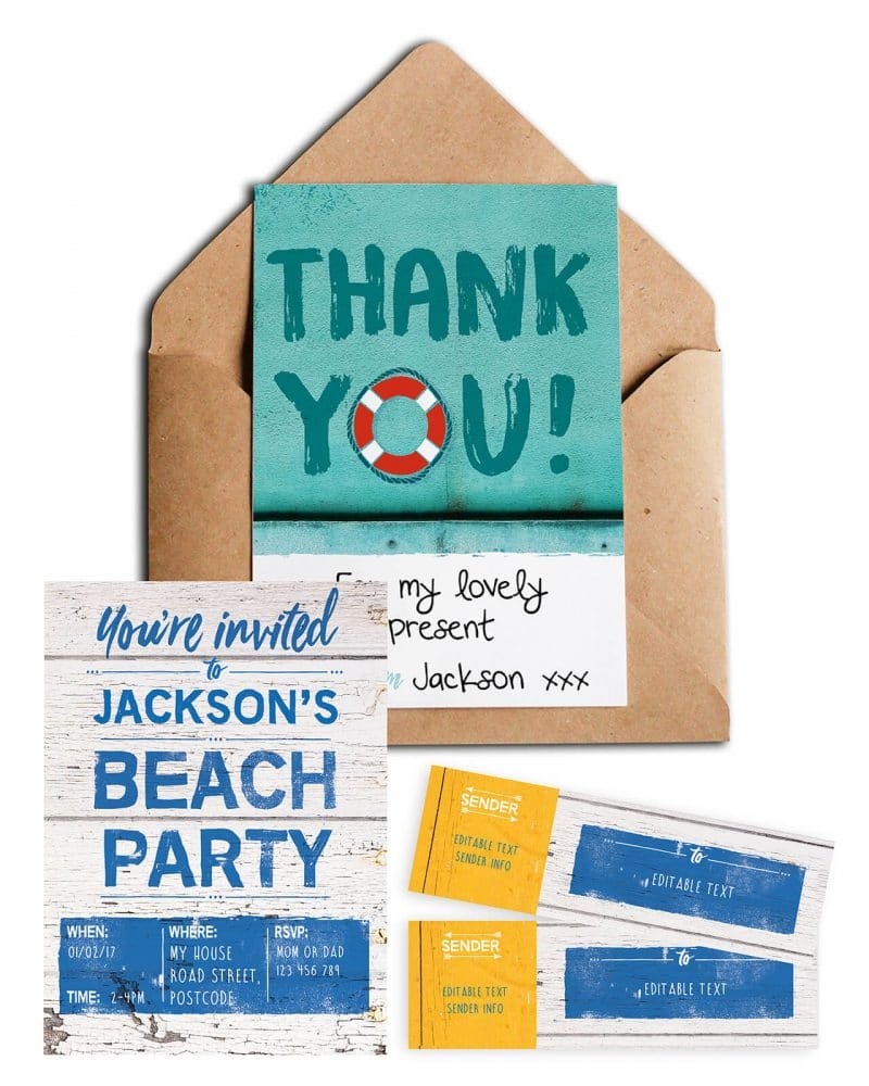 Beach Party Stationery Bundle Editable Collette and Co 2