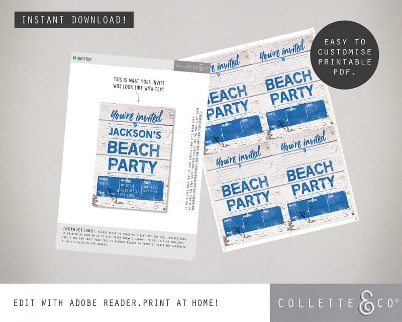 Beach Party Stationery Bundle Editable Collette and Co 8