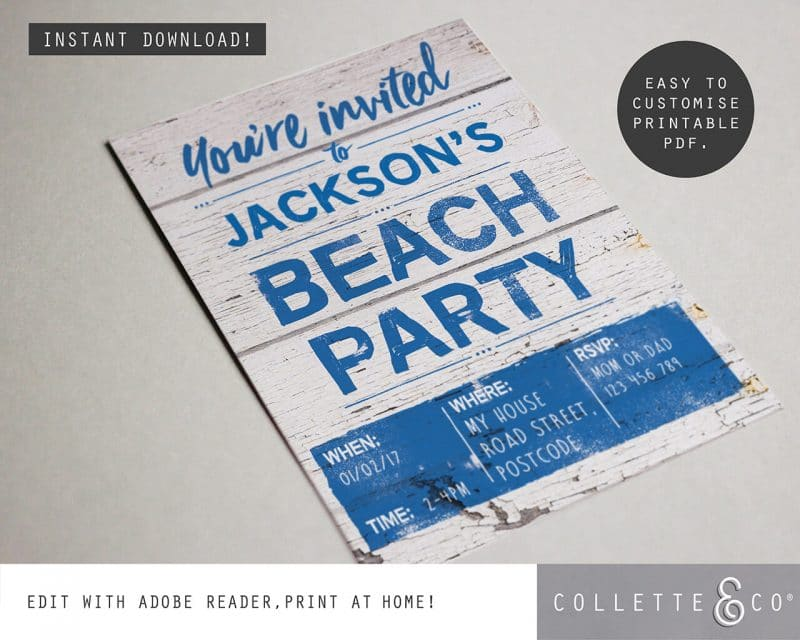 Beach Party Stationery Bundle Editable Collette and Co 9