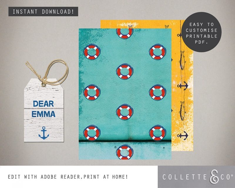 Beach party Giftwrap Party Favor Bundle Printable Collette and Co 6