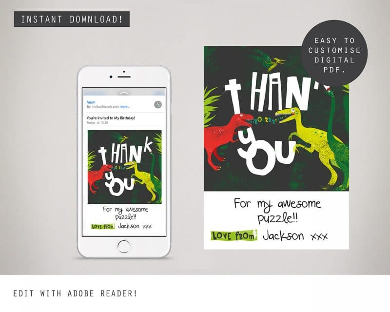 Dinosaur Digital Party Thank you Card Collette and Co 2
