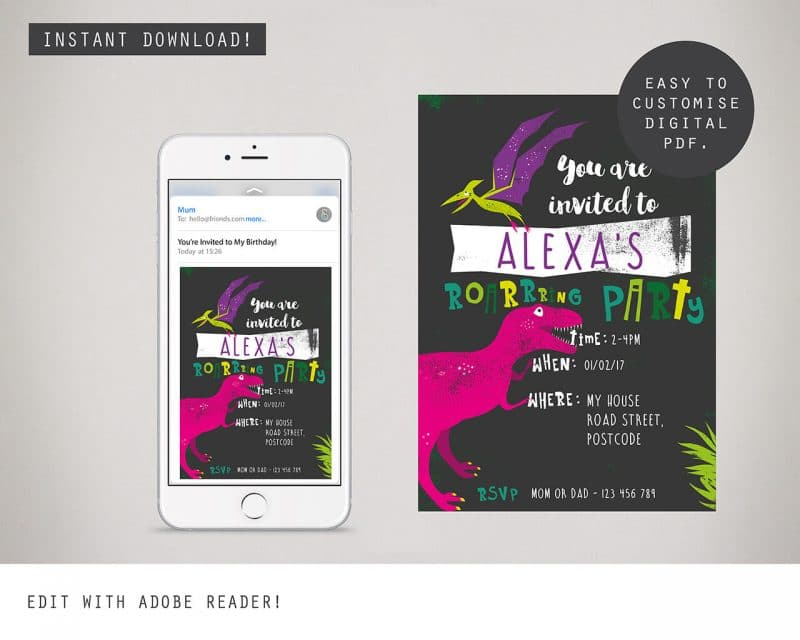 Dinosaur Girls Digital Party Invitation Collette and Co 2