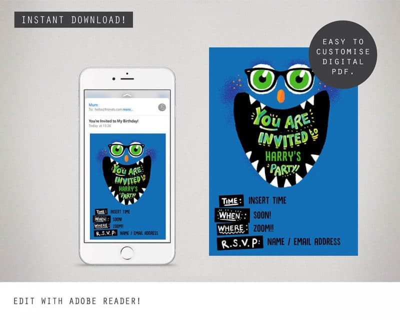 Monster Digital Party Invitation Card Collette and Co 2