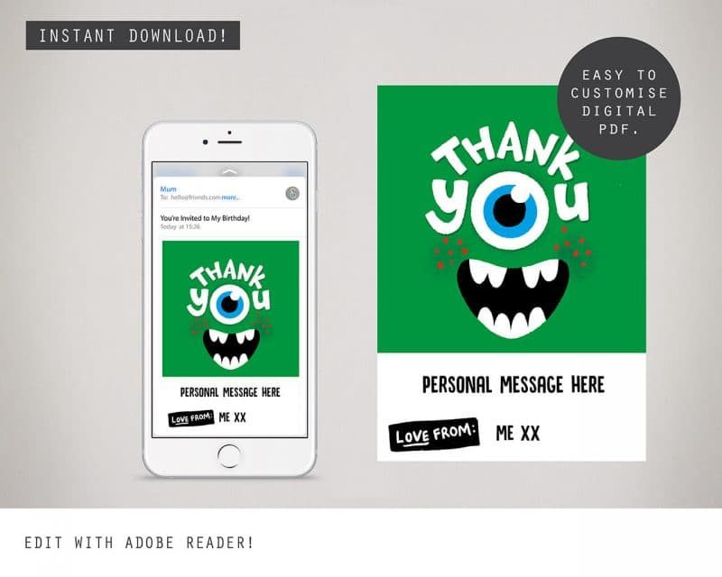 Monster Digital Party Thank you Card Collette and Co 2
