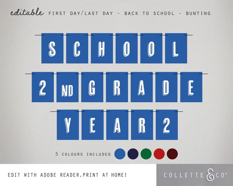 Printable Back to School Sign Pack Editable Collette and Co 13