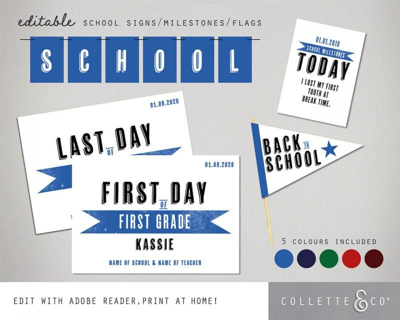 Printable Back to School Sign Pack Editable Collette and Co 4