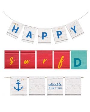 Printable Beach Birthday Bunting Editable Collette and Co 1