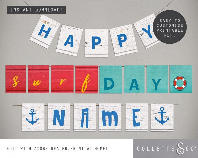 Printable Beach Birthday Bunting Editable Collette and Co 2